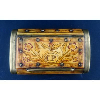 Snuffbox Of Folk Art Bone