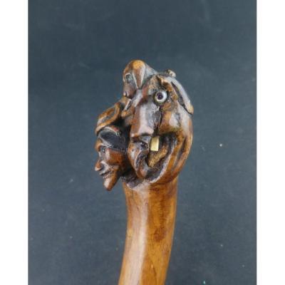 Canne d'Art Populaire Sculptée