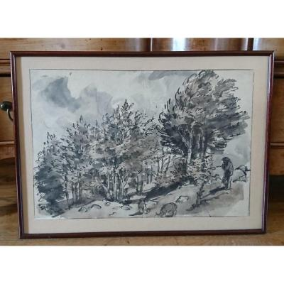 Lavis On Paper Japan Auvergne Landscape By J Chadel