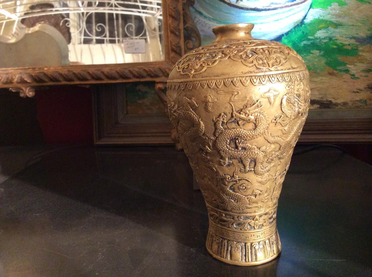 Vase De Forme Meiping En Bronze Doré -photo-2
