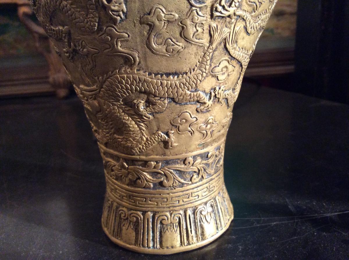 Vase De Forme Meiping En Bronze Doré -photo-4