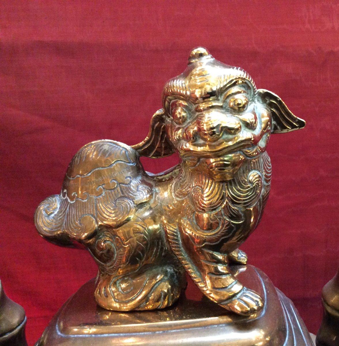 Brûle- Parfum Asiatique En Bronze Doré fin XIXe-photo-2
