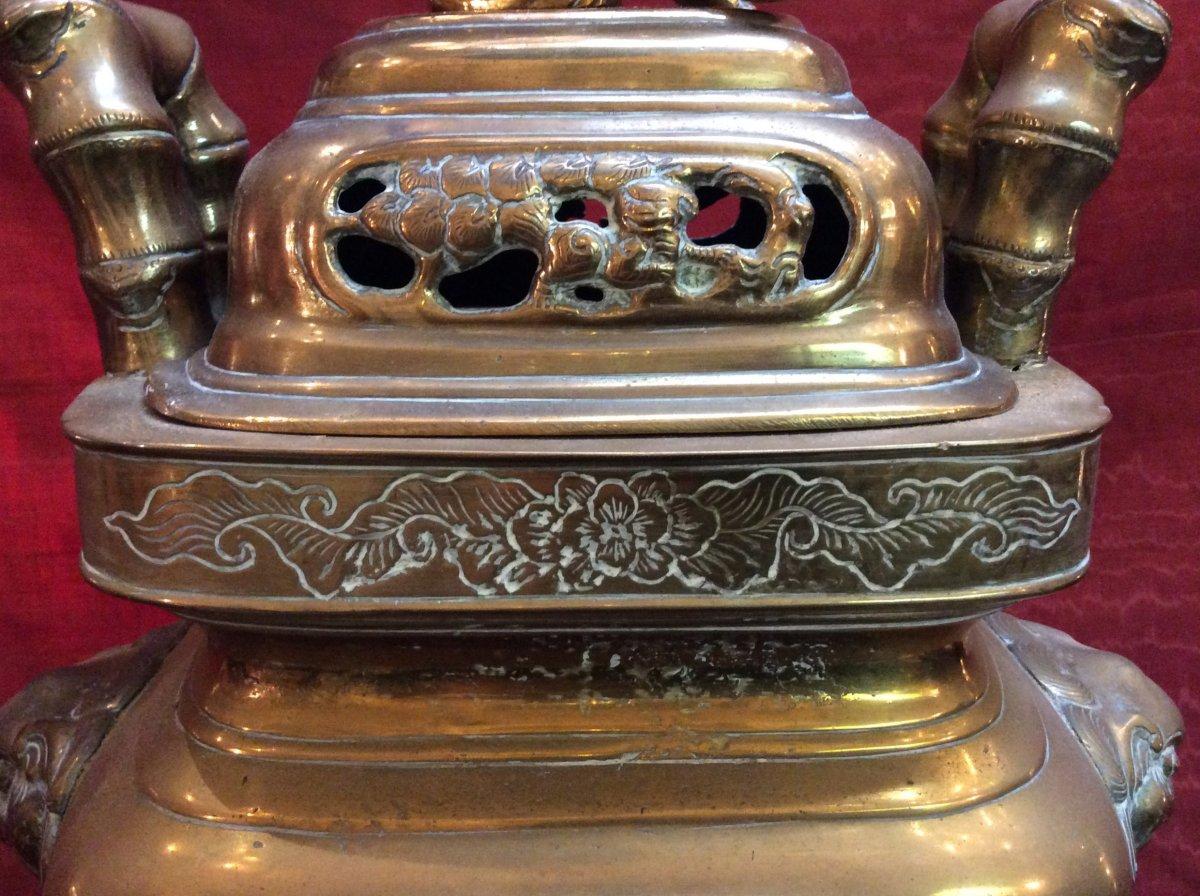 Brûle- Parfum Asiatique En Bronze Doré fin XIXe-photo-3