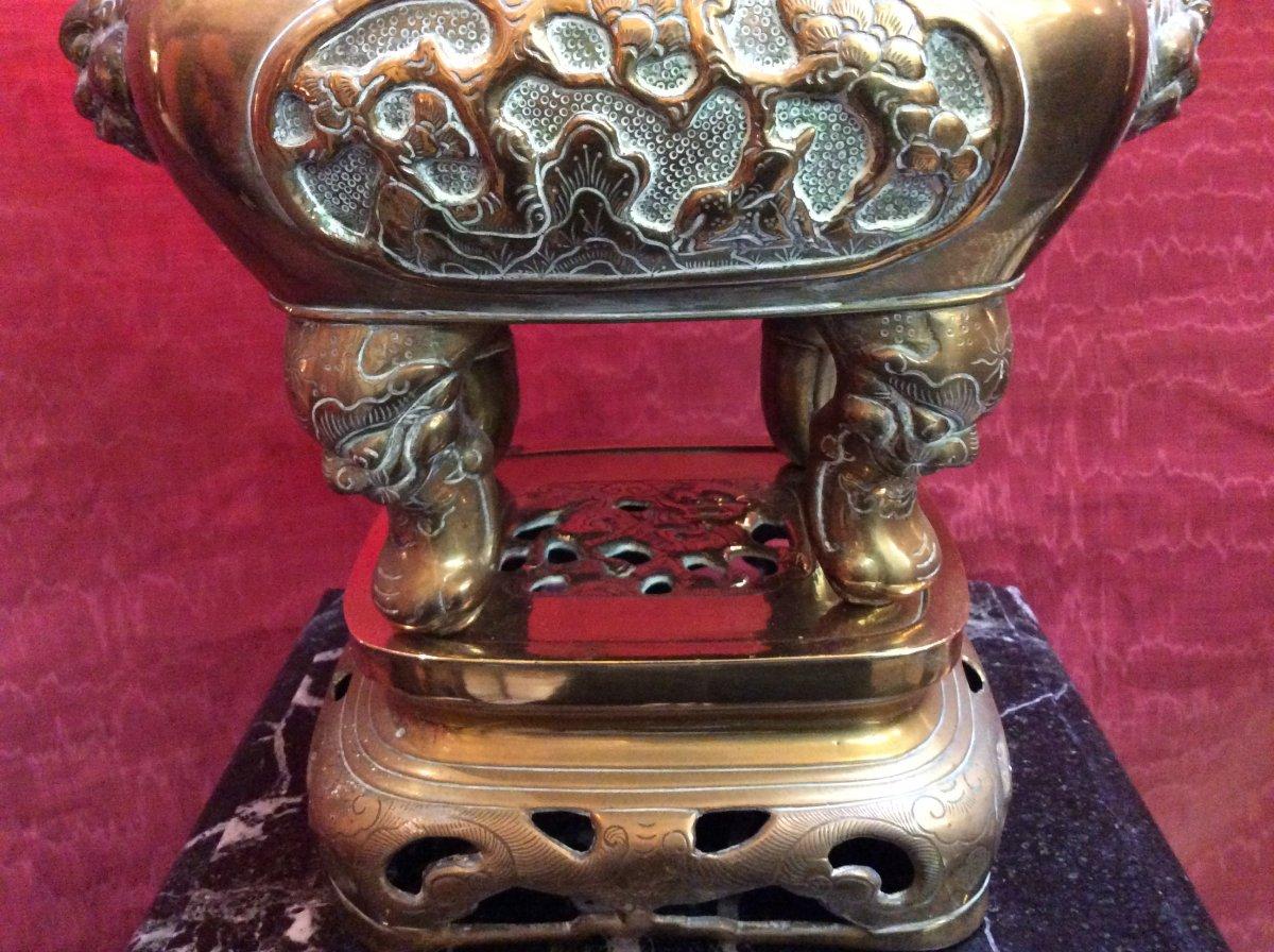 Brûle- Parfum Asiatique En Bronze Doré fin XIXe-photo-4