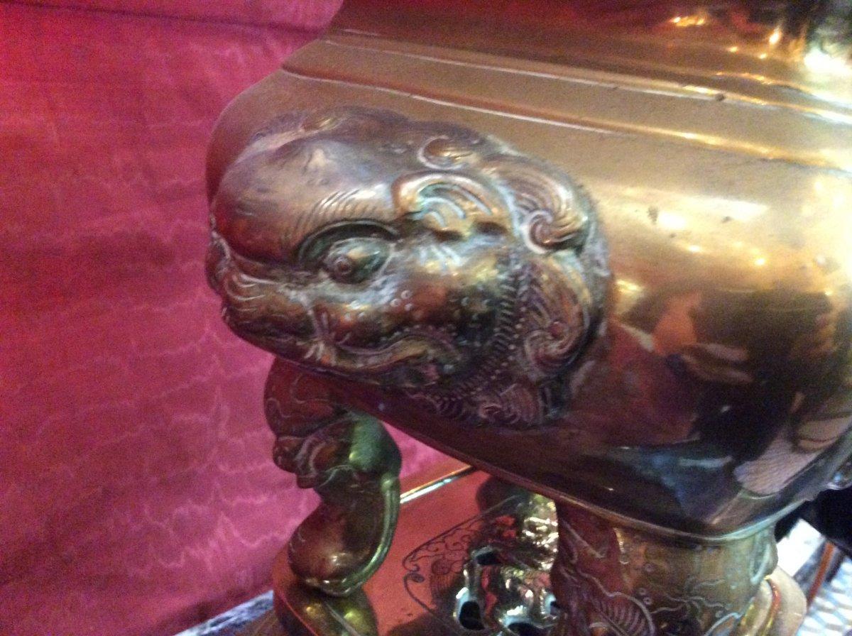 Brûle- Parfum Asiatique En Bronze Doré fin XIXe-photo-1