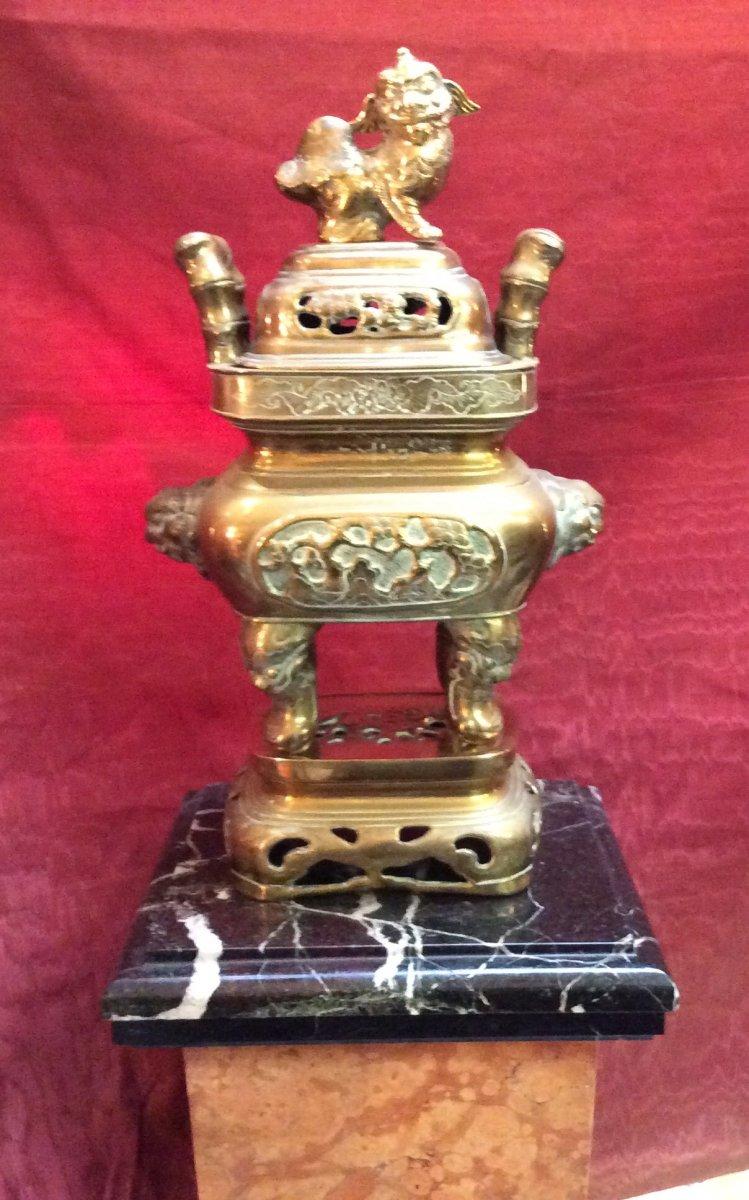 Brûle- Parfum Asiatique En Bronze Doré fin XIXe