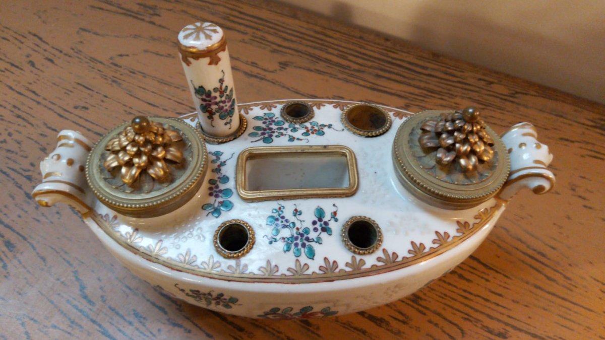 Encrier En Porcelaine De Limoges-photo-2