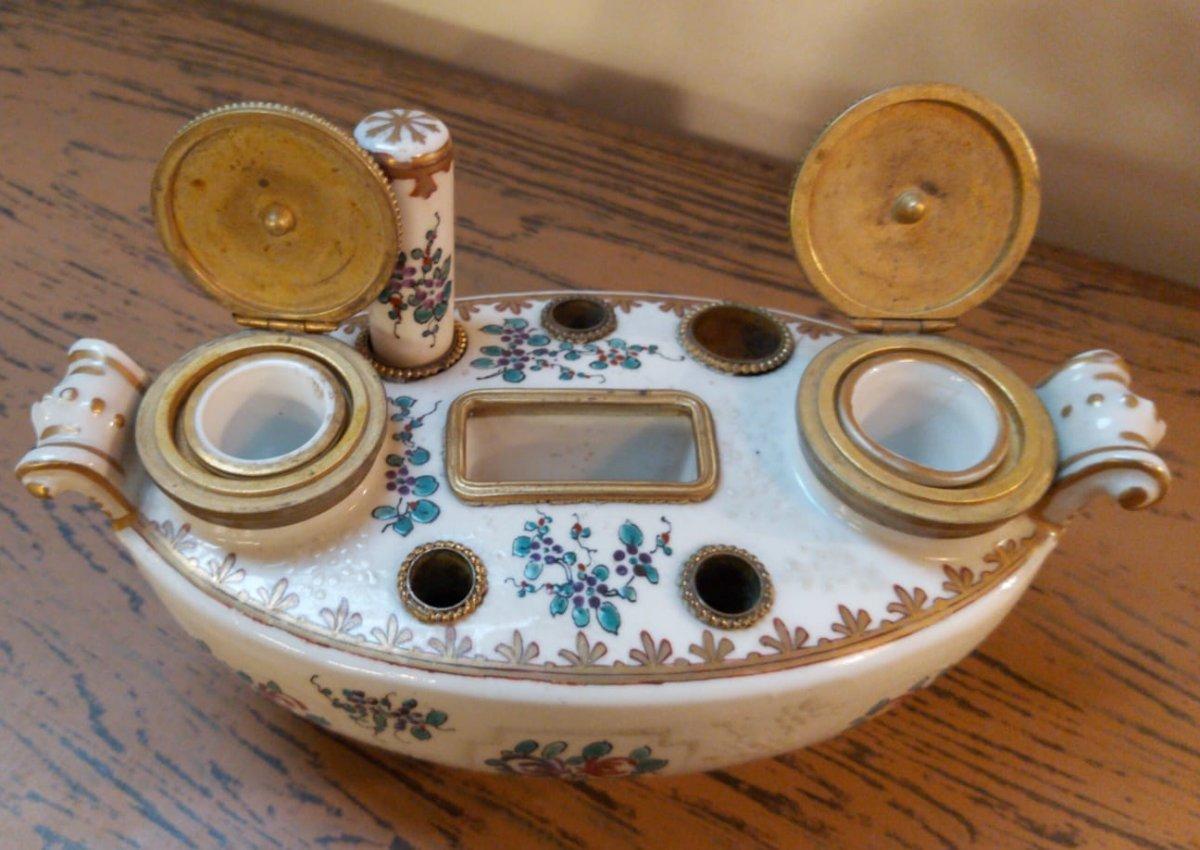 Encrier En Porcelaine De Limoges-photo-3