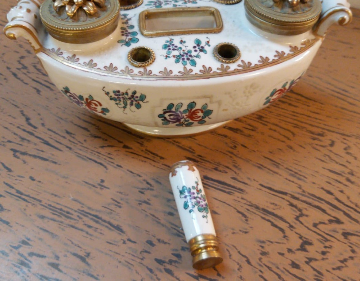 Encrier En Porcelaine De Limoges-photo-4