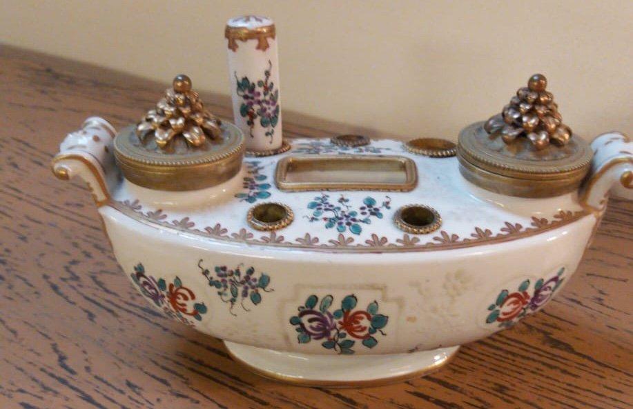 Encrier En Porcelaine De Limoges