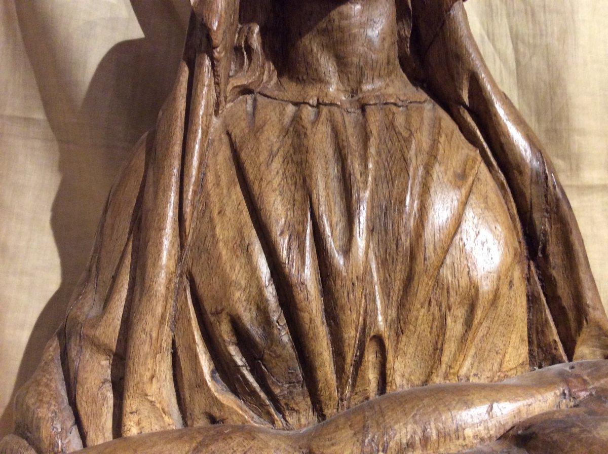 «Pieta» - Sculpture En Bois De Chêne -photo-3