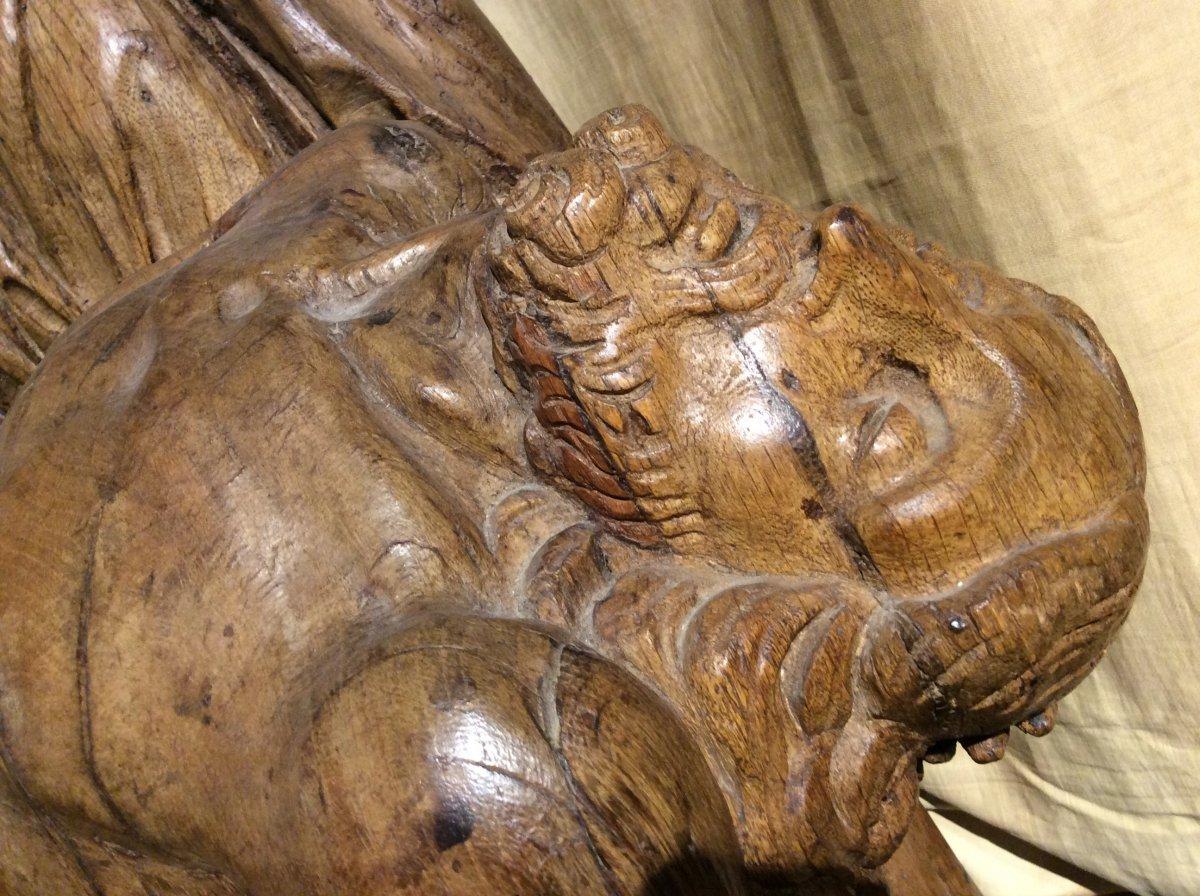 «Pieta» - Sculpture En Bois De Chêne -photo-4