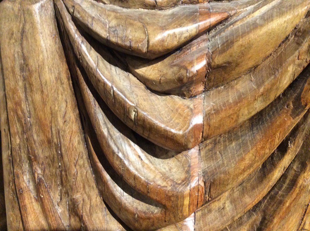 «Pieta» - Sculpture En Bois De Chêne -photo-1