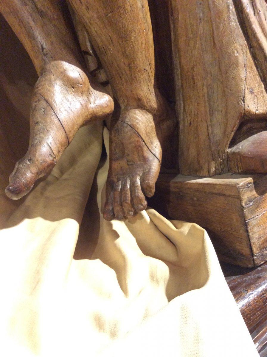 «Pieta» - Sculpture En Bois De Chêne -photo-2