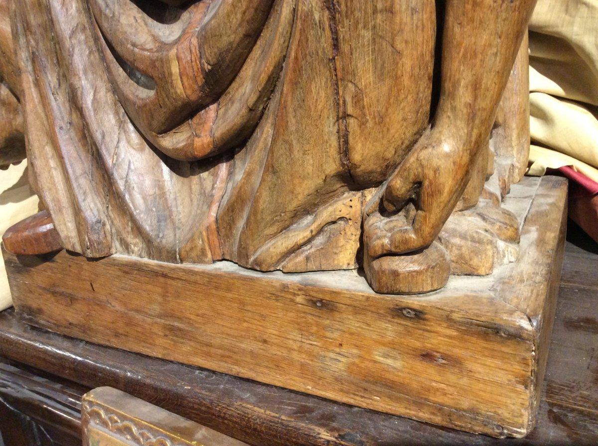 «Pieta» - Sculpture En Bois De Chêne -photo-6