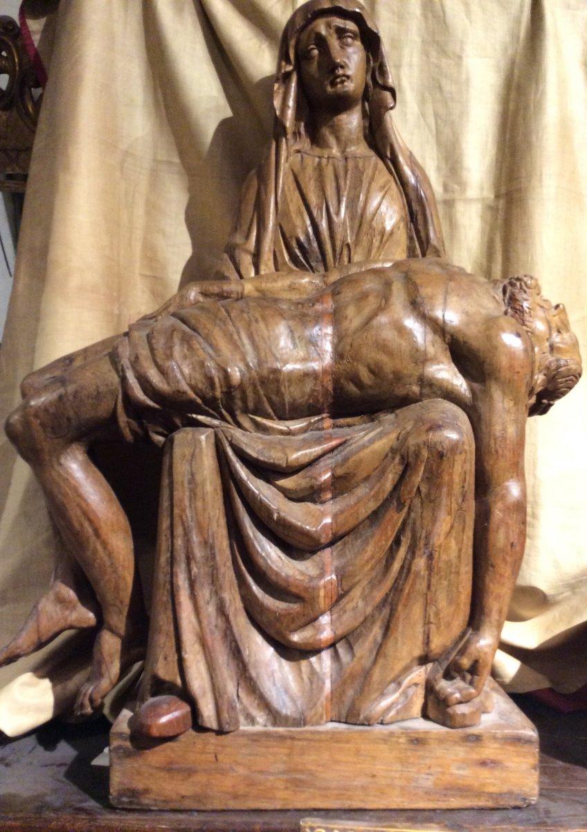 «Pieta» - Sculpture En Bois De Chêne