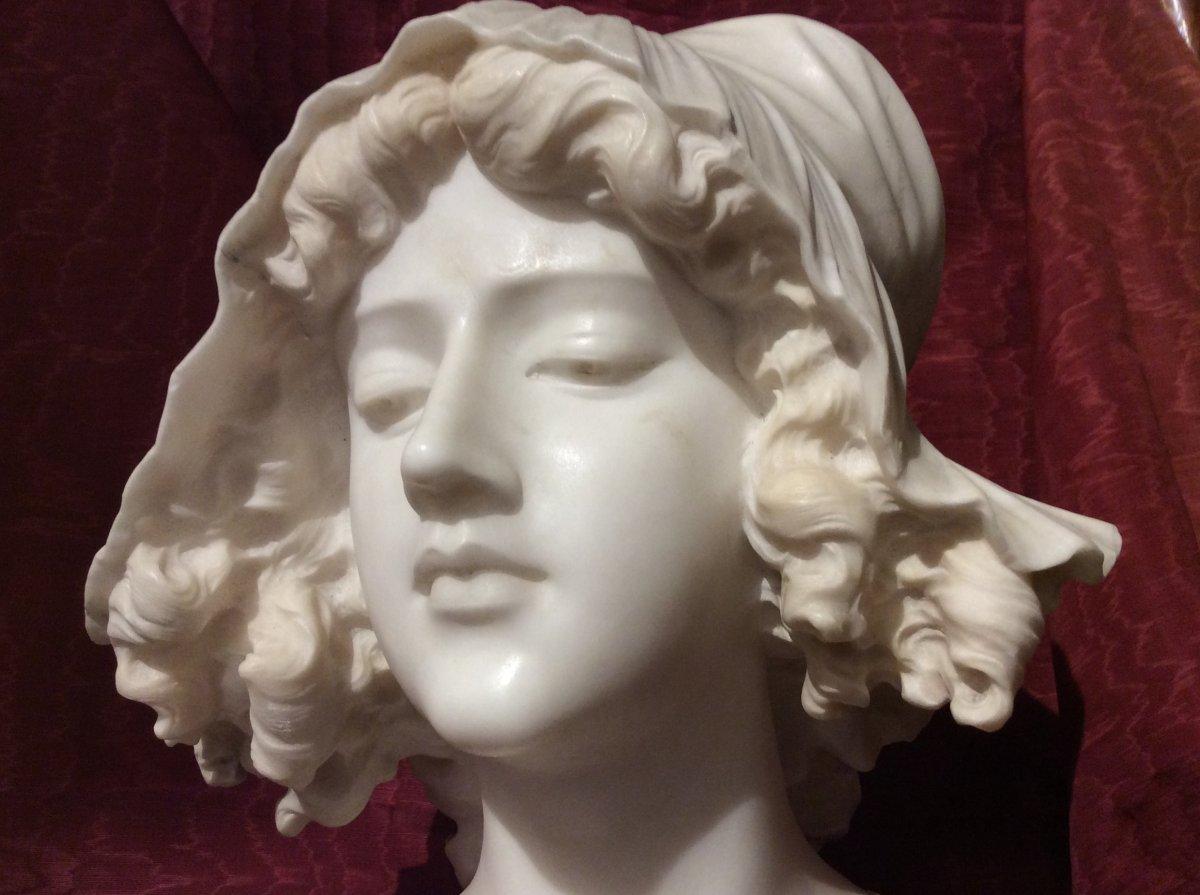 Buste En Marbre Et Albâtre - Giuseppe Bessi-photo-2