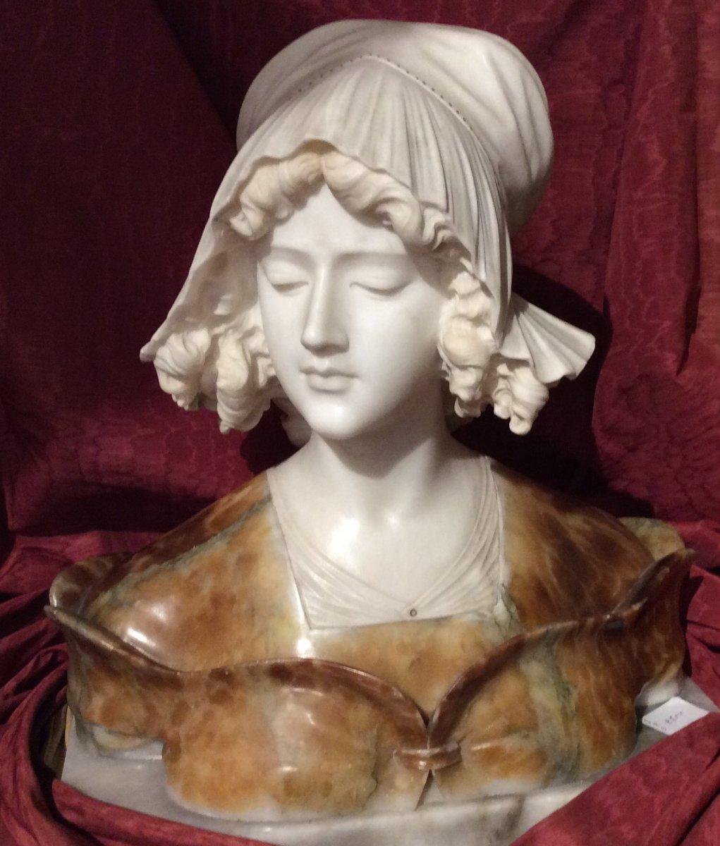 Buste En Marbre Et Albâtre - Giuseppe Bessi-photo-4