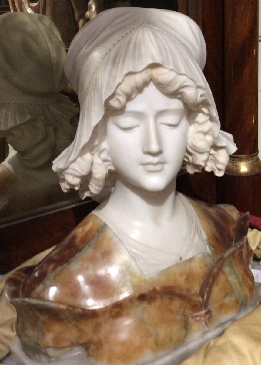 Buste En Marbre Et Albâtre - Giuseppe Bessi