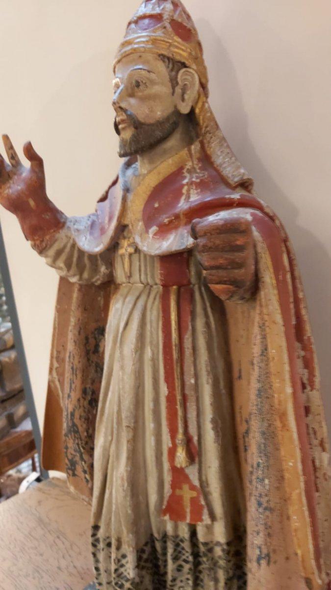 Statue De Pape En Bois Polychrome -photo-2