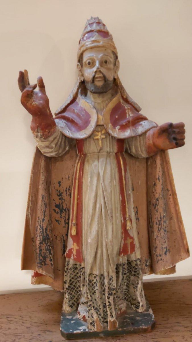 Statue De Pape En Bois Polychrome