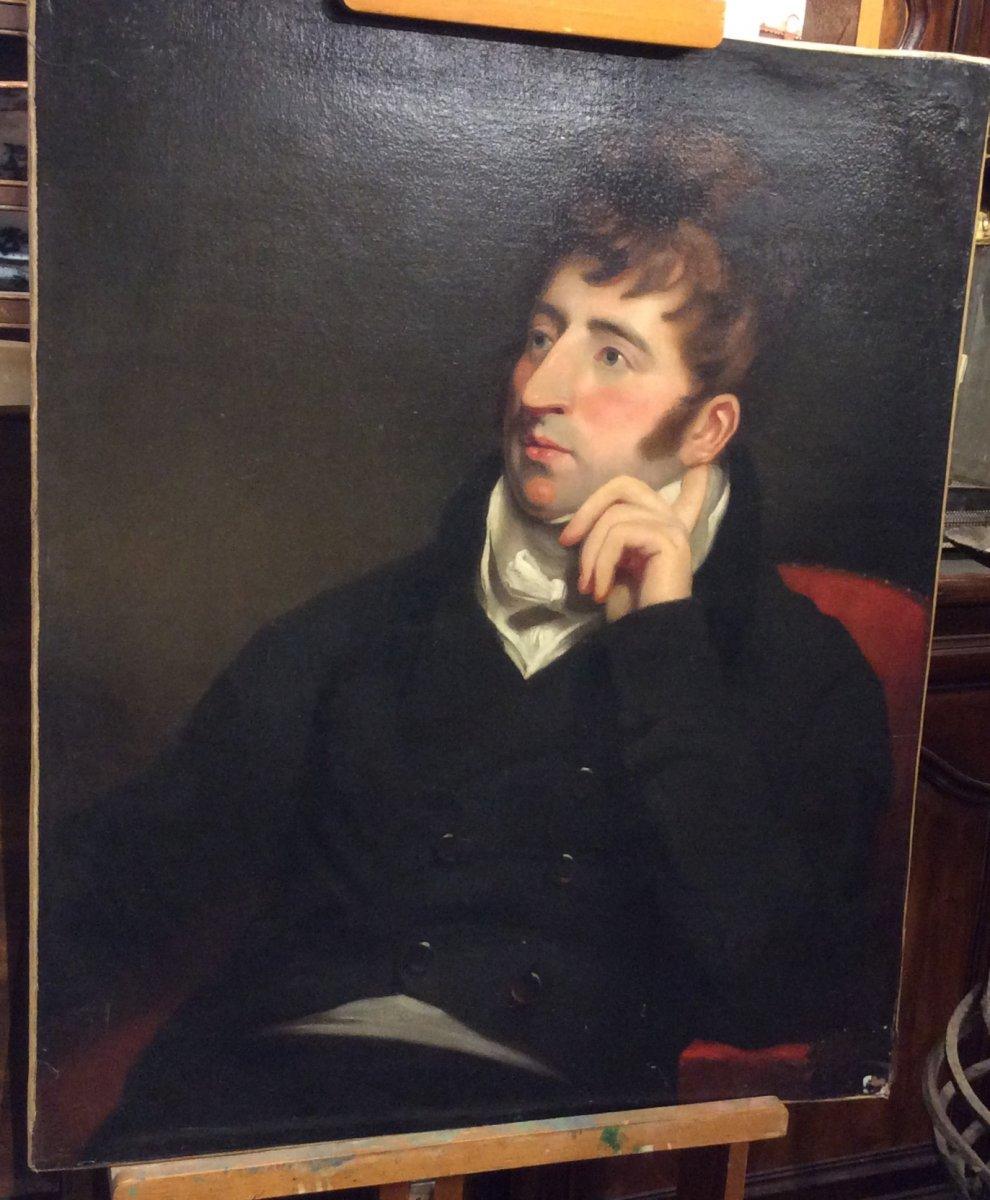 Portrait D'aristocrate- École Anglaise- Début XIXe Siècle