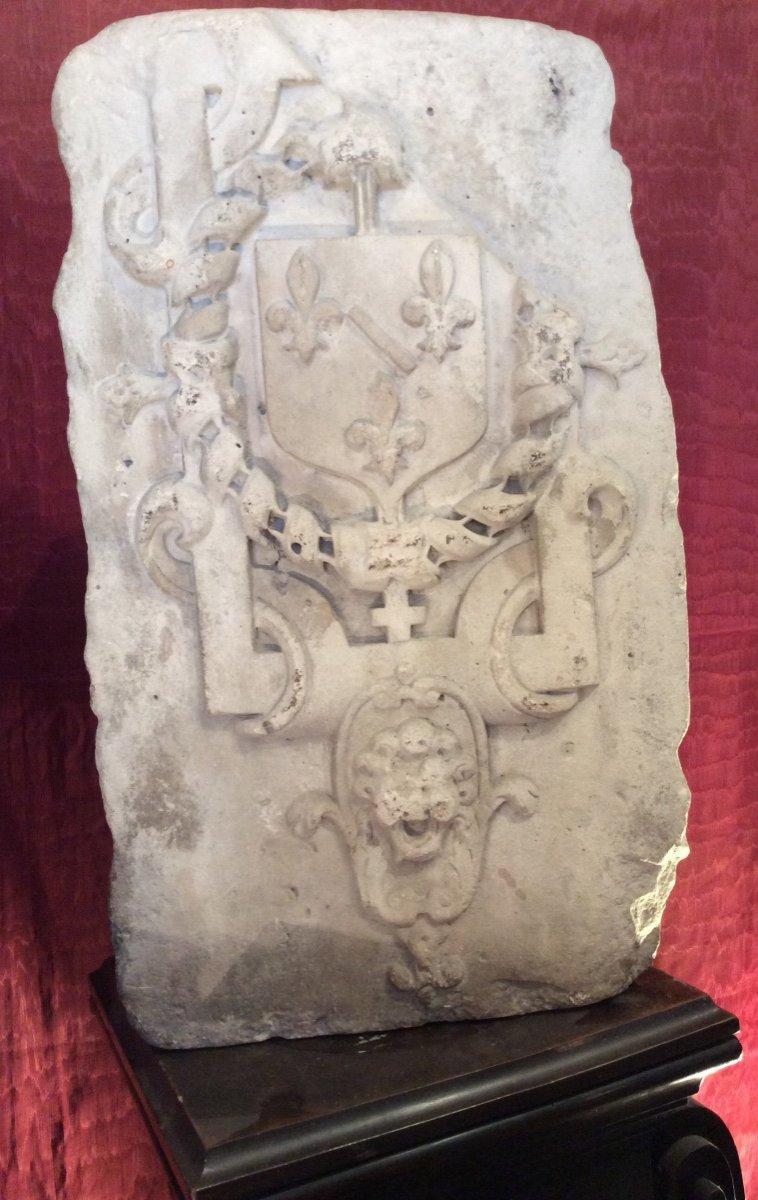 Sculpture Héraldique Aux Armoiries De La Maison Bourbon- Condé
