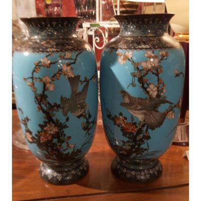 Pair Of Vases In Cloisonné Enamels And Gilt Bronze - China XIXth