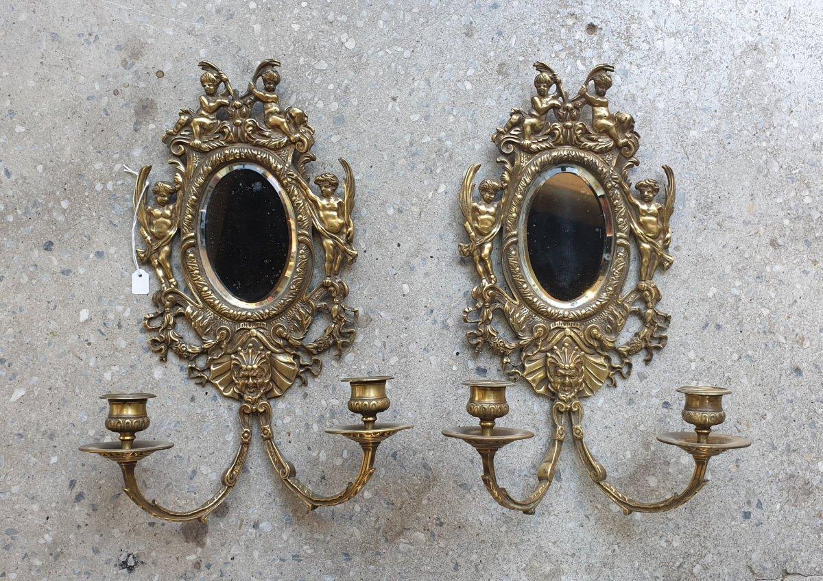 Paire d' Appliques miroir NIII Bronze, Laiton