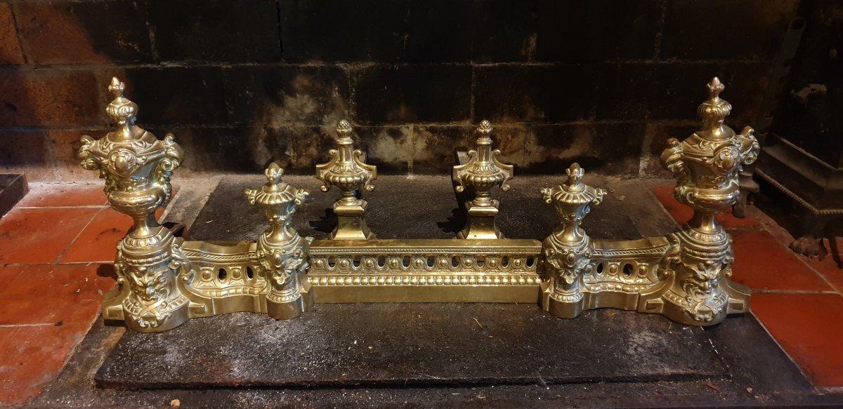 Chenets Et Barre De Feu 19ème,  Style Louis XVI