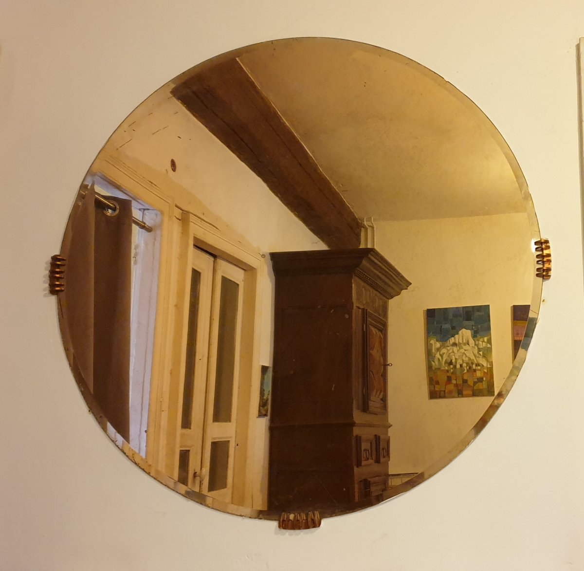 Large Art Deco Round Mirror Beveled Fixings Pastes Claws