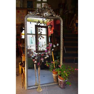 Grand Miroir Doré A l'Or Blanc