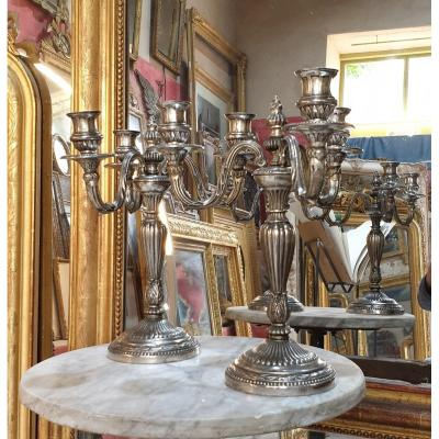 Pair Of Candlesticks With 3 Branches Nlll Silver Bronze