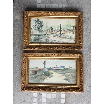 Pair Of Watercolors Of Pierre Pages