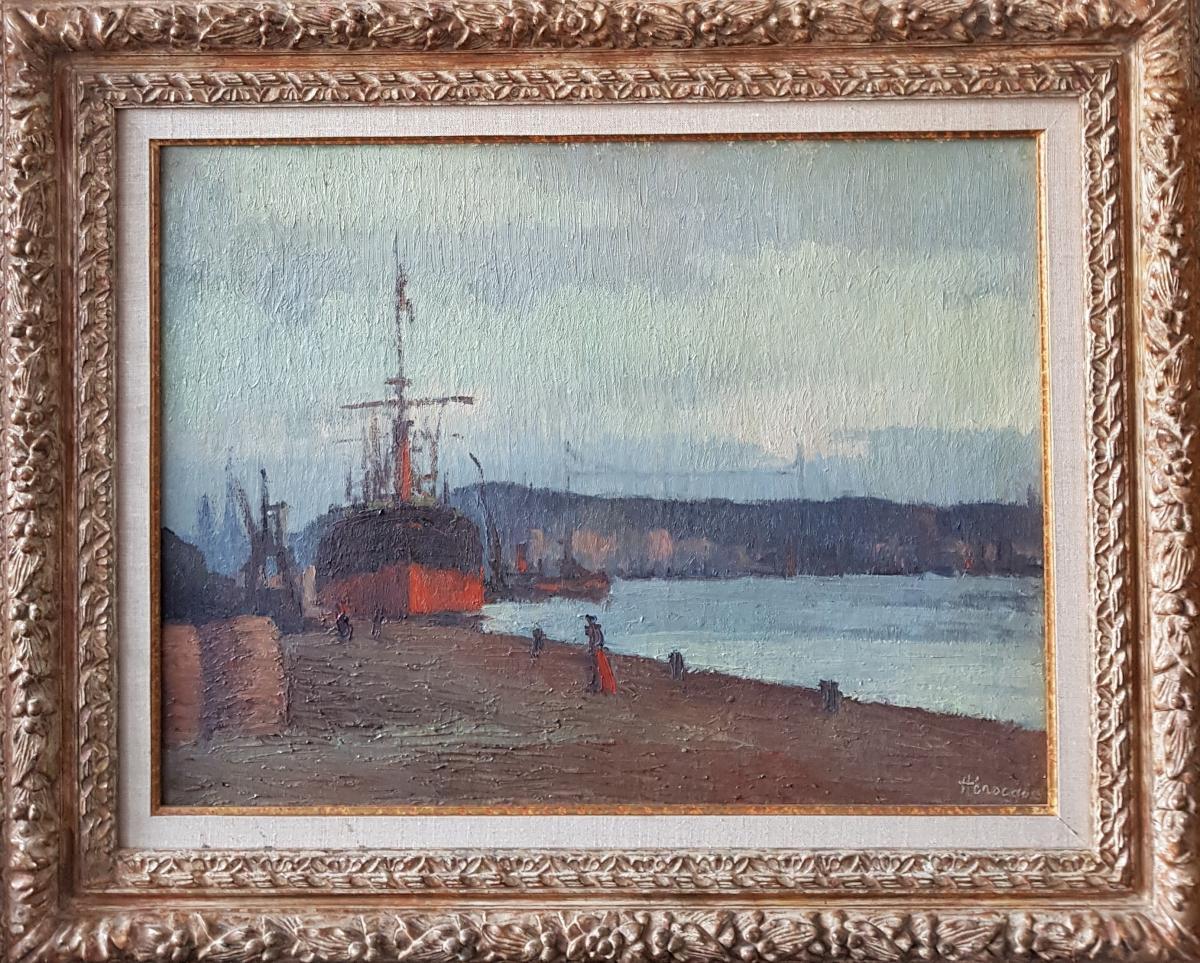 Narcisse HENOCQUE (1879-1952), Le port de Rouen