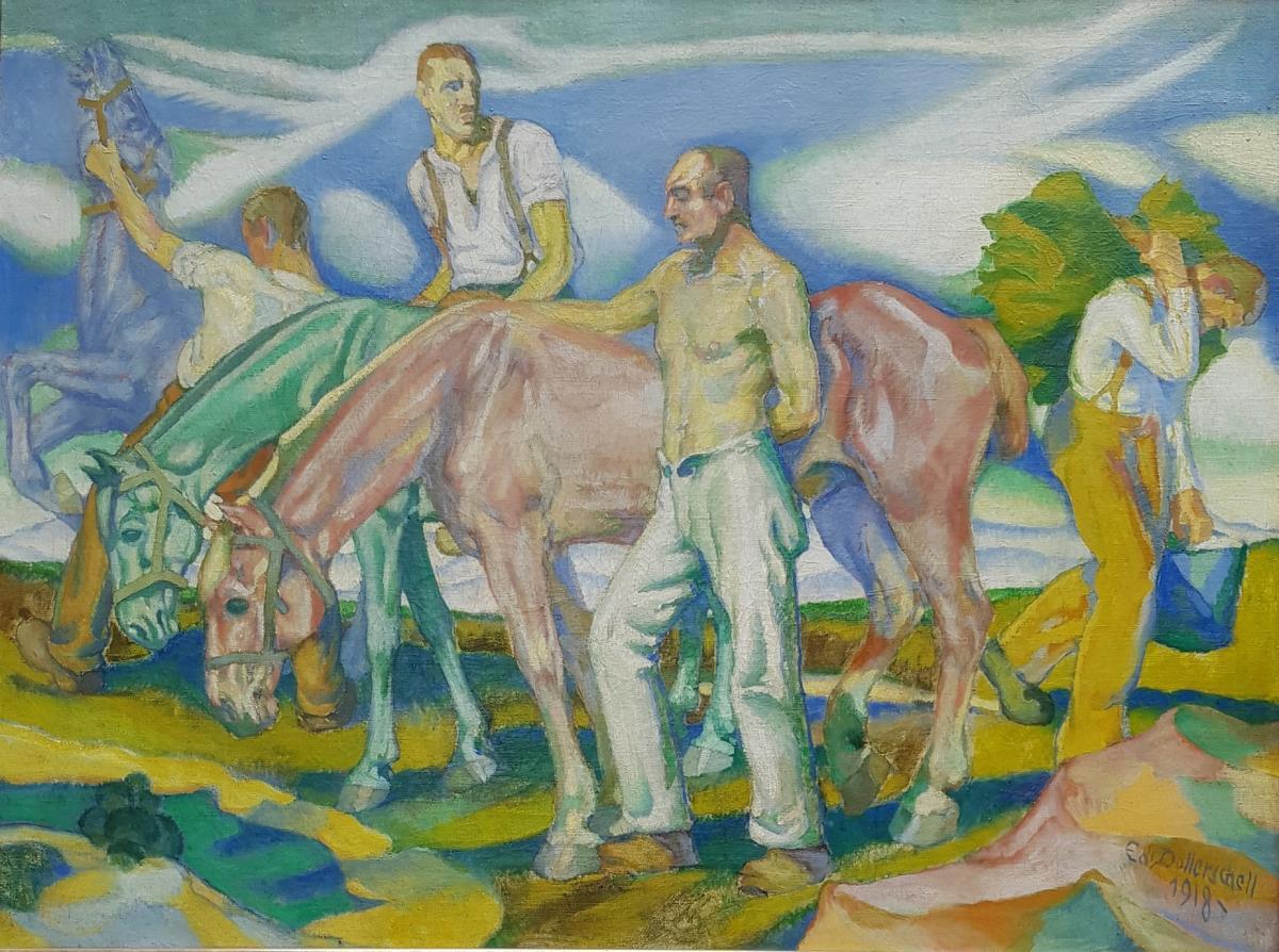 Eduard DOLLERSCHELL (1887-1946), Die blaue wolke, Ecole allemande