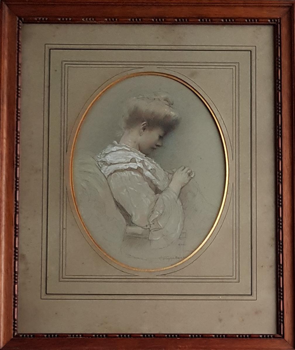 Philippe Zacharie (1849-1915), Jeune femme cousant, Ecole de Rouen