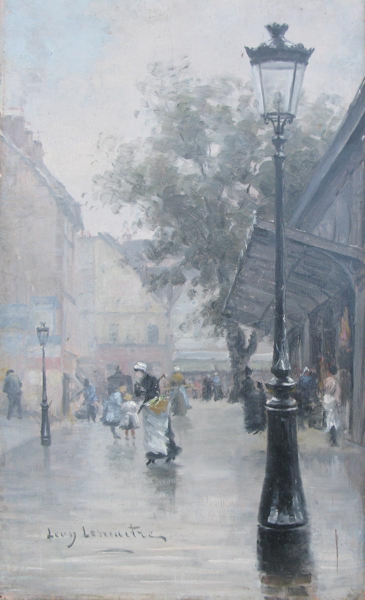 Léon-Jules LEMAITRE (1850-1905), La place Saint-Marc animée à Rouen