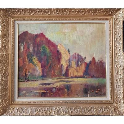 Albert Malet (1912-1986), Etang et sous-bois à l'automne