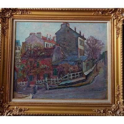 Julien FERON (1864-1944), Le Lapin agile à Montmartre