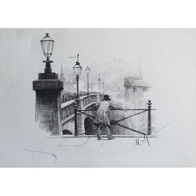 Felician von MYRBACH-RHEINFELD (1853-1940), Pont animé à Paris