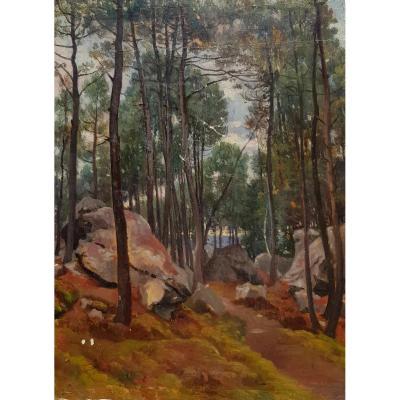 Alexandre DESGOFFE (1805-1882), Le rocher Bouligny en forêt de Fontainebleau