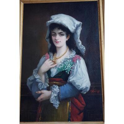 Emile GAMBOGI (1819-1895), Jeune italienne au collier de perles