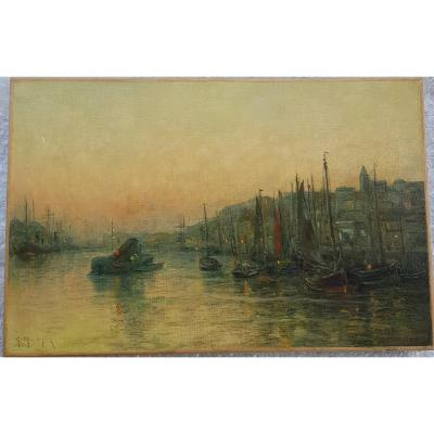 Georges Maroniez (1865-1933), Port Of Boulogne-sur-mer At Twilight