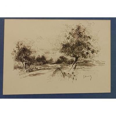 Paul-Elie GERNEZ (1888-1948), Chemin boisé près d'Honfleur ?