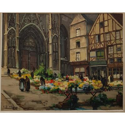 Louis-jacques Vigon (1897-1985), Portal Of The Calende And Flower Market In Rouen