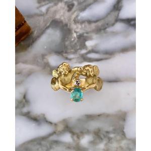 Rare bague antique sirène en or, émeraude et diamant