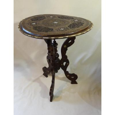 Syrian Table In Wood Inlaid With Mother Of Pearl Nineteenth Century