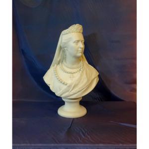 Biscuit Bust Of Victoria Von Baden, Queen Of Sweden (1862 - 1930)
