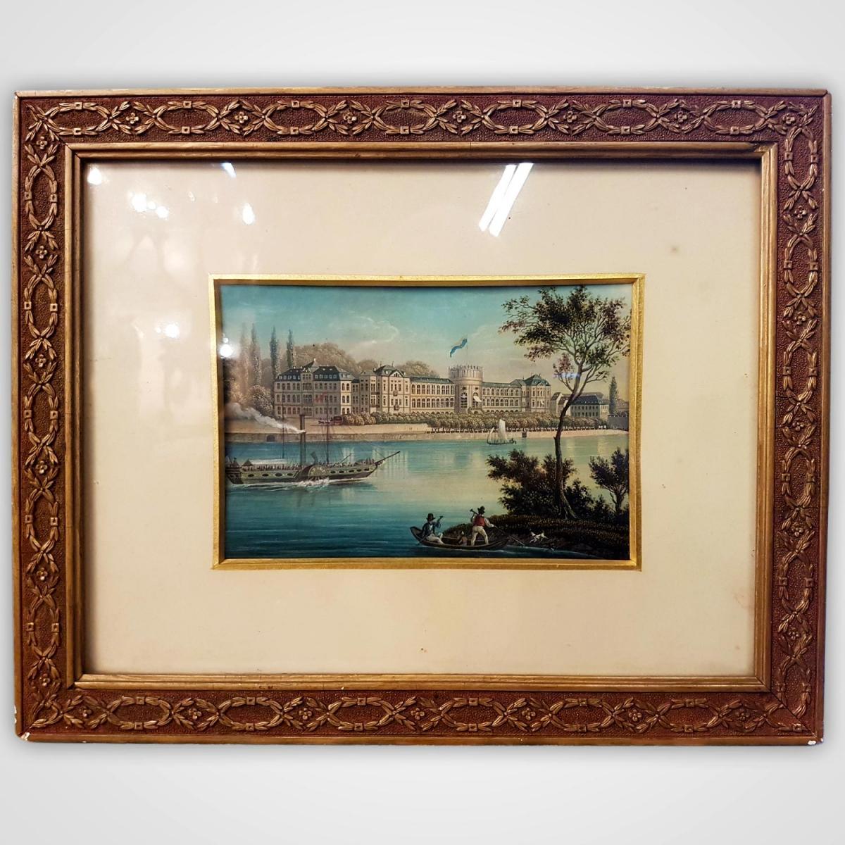 Paires d'Aquarelles,vues De Cologne Et Château De Biebrich, XIXèsiècle
